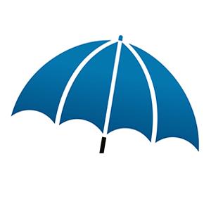 Blue umbrella icon from Unique Insurance Solutions logo