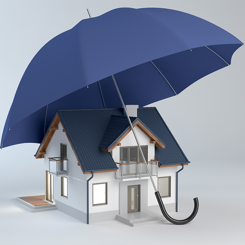 House under blue umbrella